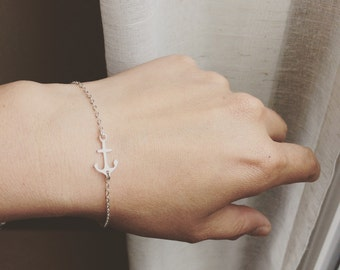 Anchor Bracelet - Sterling Silver Anchor Bracelet  - All Sterling Silver - Everyday Jewelry/Minimalistic Jewelry/ Beach Wedding Jewelry