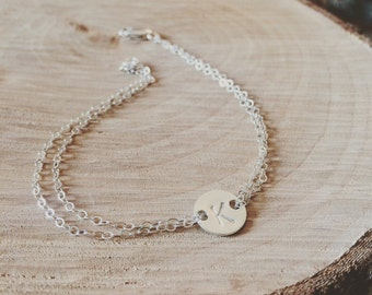 Initial Bracelet - Personalized Gift - Sterling Silver Double Strand Initial Bracelet - Everyday Bracelet, Bridesmaid Gift, Holiday Gift