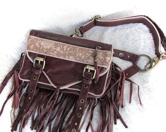 Leather handbag, leather hip bag leather boho bag, leather purse, Leather hassle bag, brown leather hassle bag