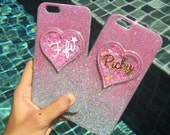 Personalised 2-toned glitter Iphone 6 /6 plus,  iPhone 5/5s, iPhone  4/4s, Samsung galaxy note 2/3/5, s3/s4/s5 glitter case with your name.