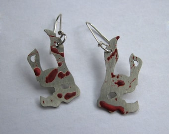 Nickel Silver Bioshock Inspired Splicer Mask Earrings with Sterling Silver Earwires