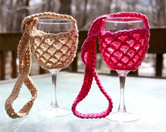 Free Pattern Crochet Wine Glass Holder : wine glass holder ? Etsy