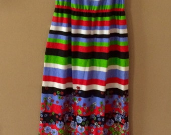 60's handmade floral cotton flower power maxi Dress Size medium/large