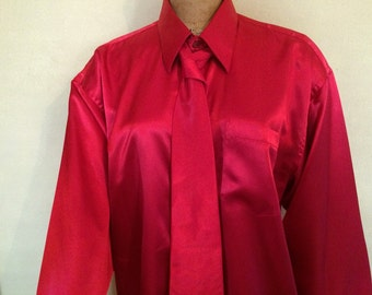 Men's shiny long sleeve red dress shirt and matching red tie