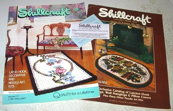 Vintage Shillcraft Latch Hook Sew In Fabric Label Amp 2 Catalogs