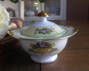 Gorgeous Vintage Sugar Bowl With Lid Japan Gold Trim and Mint Green with Flowers