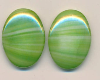 Wow - swirled green vintage glass cabochons - 25 x 18 mm ovals