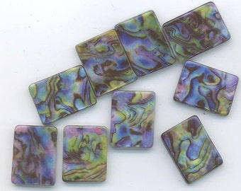 Ten dazzling rainbow faux abalone beads - smaller flat rectangles - 20 x 15 mm