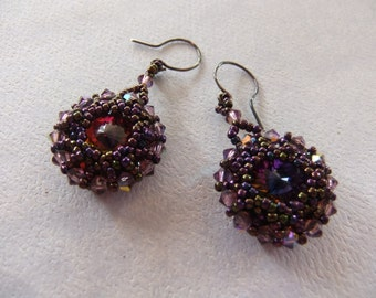 Aubergine and Lilac Crystal Earrings