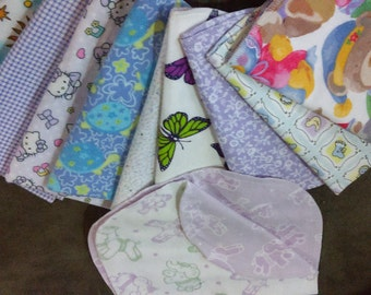 Lot of 10 Baby Burp Cloths
