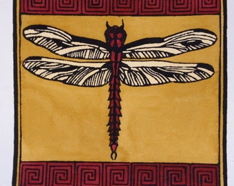 Craftsman Dragonfly Block Print, Small Art Bungalow Mission Style