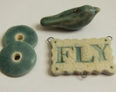 50% OFF Rustic handmade Pendant FLY and matching Bird Bead in turquoise glaze