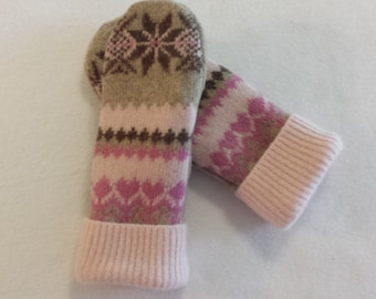 Child's Felted Wool Mittens Recycled from Felted Wool and Sweaters, Fleece Lined  Child's Mitten Large Size 12-14