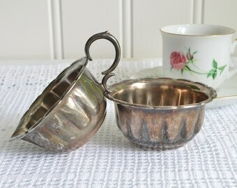 Creamer and sugar bowl set, vintage Swedish serving set, silver plate bowls, tarnished silver