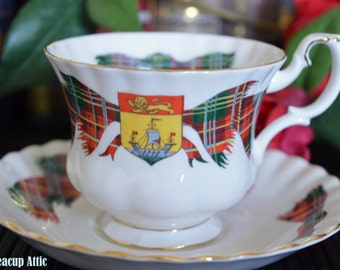 ON SALE Royal Albert New Brunswick Tartan Teacup and Saucer, Provincial Tartan, New Brunswick Day, ca. 1962