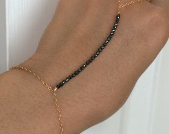 Black Hematite Beaded Gold Hand Chain also available in Silver and Rose Gold