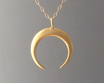 Gold Double Horn Necklace also available in silver