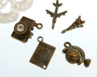 5 piece antique bronze travel charm set  all 3 d style  with real spinning globe charm