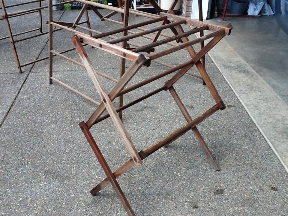 vintage folding wood clothes drying rack by thepuppydogtails