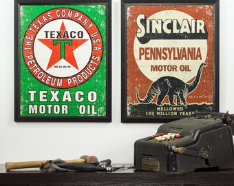 Vintage Texaco and Sinclair Motor Oil Tin Sign Set, 12.5-Inch by 16-Inch, Distressed Appearance, Set Includes 2 Tins, Framed (5051216ART50A)