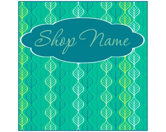 Premade Etsy shop set Etsy Cover photo and icon Set Leaves pattern banner caribbean aqua turquoise mint green teal blue Facebook timeline