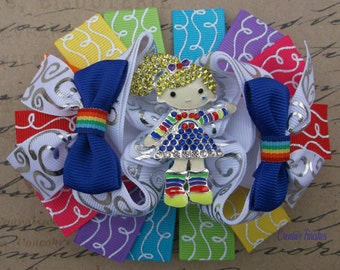 Rainbow Brite Bow Stacked Hair Bow