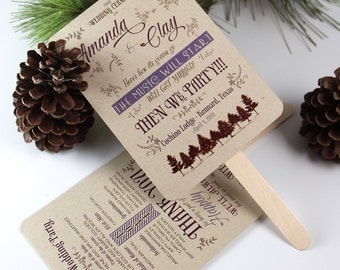 Rustic Wedding Program Fans
