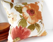 "Pillows Large Orange and Mustard Flowers, Pistachio Green, Olive Green Leaves Light Beige, Modern, Pillow Cover, 20"" x 20"""