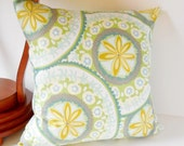 "Pillows Neutral, Light Green, Gray Circles, Yellow on White, Floral Pattern, Modern, Pillow Cover, 20"" x 20"""