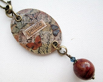Peace Mixed Media Pendant Necklace Beaded Jewelry Brown Blue Bead Repurposed Upcycled Art Short Boho Rustic