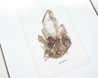 Quartz Crystal Mineral Specimen Archival Print on Watercolor Paper