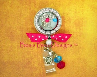 REEL-LOCKET™ - Locket,Retractable badge reel,Badge Clip,Floating charm memory locket,floating Locket,Floating Charm,Rn,Nurse Gift,ICU nurse