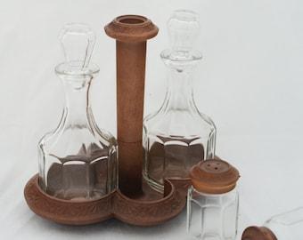 Cruet - Glass and Wood Condiment Set Salt Pepper Sugar Oil Vinegar