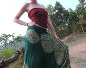 Thai Harem Pants in Cotton, Green & White Circles w flowers pattern -- Aladdin Pants -- Drop Crotch Style