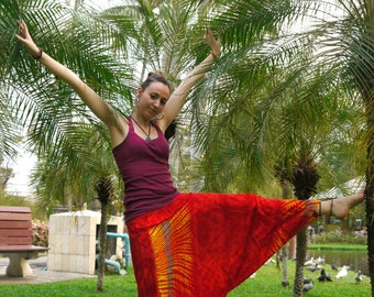 Thai Harem Pants in Cotton, Hippy Style Pants Red & Yellow Fire! -- Aladdin Pants -- Women's Harem Pants -- Drop Crotch Style