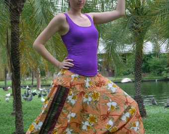 Thai Pants, Batik, Cotton, Cream Flower -- Aladdin Pants -- Women's Harem Pants -- Drop Crotch Style  Tribal Pants