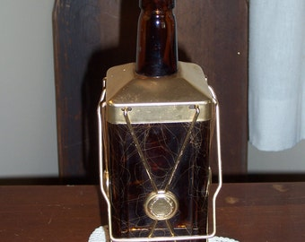 Swiss Harmony Musical Cognac Bottle Decanter...Brown and Gold with Original Cork Stopper Lid...The Bear Went Over the Mountain...Mad Men Era