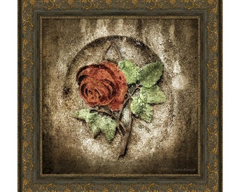 Cemetery Rose Gothic Romance Goth Haunting Graveyard Rose Red  Green Brown Square Fine Art Photography Print or Gallery Wrap Canvas Giclee