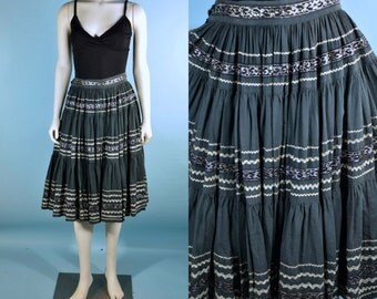 "Vintage 50s Mexican Boho Squaw Festival Peasant Skirt//Southwestern Ethnic Full Swing Rockabilly Skirt// Swing Square Dance Skirt 28 "" Waist"