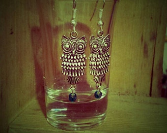 Sweet silvertone owls with turquoise glass dangle beads