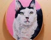 Custom Pet Portrait Oil Painting Pet Memorial Birthday Gift OVAL on WOOD