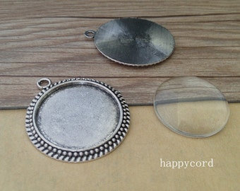 6pcs  antique silver Round  Cabochon Pendant Base with glass 30mm