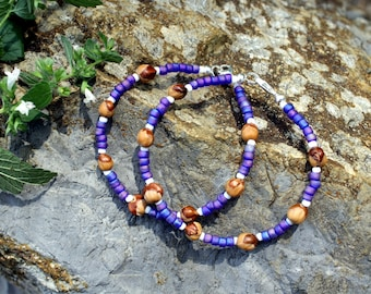 2 Ghost Berry Bracelets, Navajo Protection Charm, Iridescent Purple, Cedar Seed, Ghost Bead