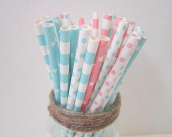 Light Pink Light Blue Paper Straws ~ Gender Reveal ~ Baby Shower