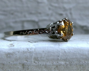 RESERVED - Stunning Simple Vintage 14K White Gold Yellow Zircon Solitaire Engagement Ring - 2.00ct.