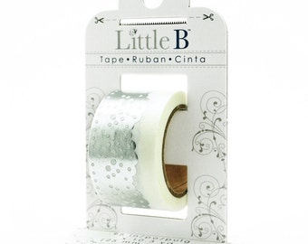 Metallic Silver Doily Lace on White Washi Tape, 25mm with Cutter by Little B, Wedding Style Washi