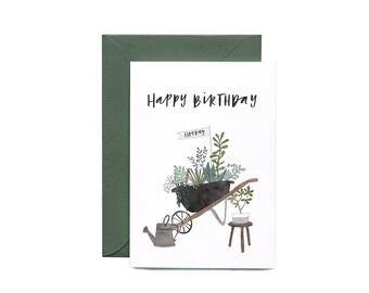 Birthday Wheelbarrow Illustrated Greeting Card