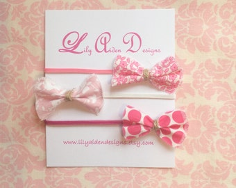 The pink bitty bow headband your choice/ Newborn headband/ baby girl headband