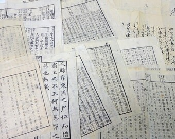 1880s Antique Japanese Book 22 Pages Paper Ephemera Scrap Assorted Pack