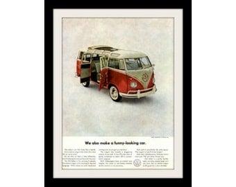 "1961 VOLKSWAGEN Bus Ad ""Funny Car"" Vintage Advertising Wall Art Decor Print"